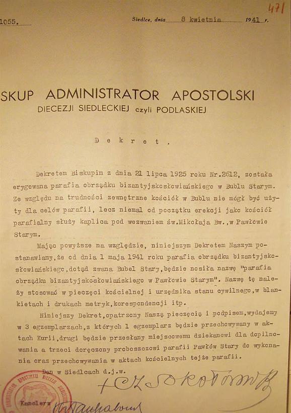 Dekret Biskupa Czesława Sokołowskiego