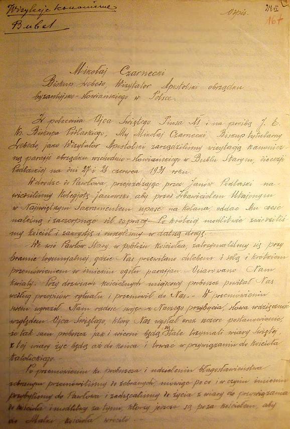 Wizytacja kanoniczna przez Biskupa Mikołaja Czarneckiego